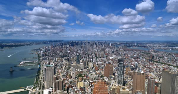A unique high-angle time lapse view of New York City with the Empire State Building in the distance.  	 Royalty-free stock video