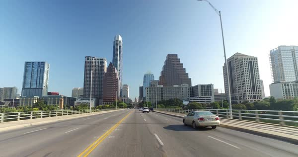 A driver's perspective on the South Congress Avenue Bridge in downtown Austin, Texas. Royalty-free stock video