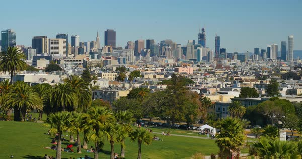 A high angle establishing shot of the San Francisco skyline as seen from atop Mission Dolores Park. Royalty-free stock video
