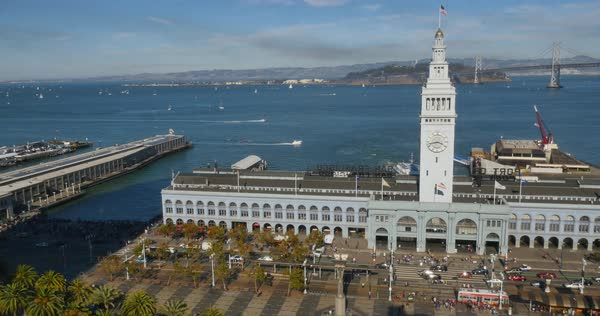 A high angle daytime establishing shot of the Ferry Building and San Francisco Bay. Royalty-free stock video