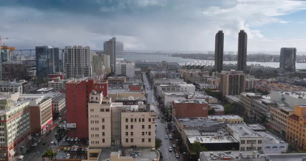 A high angle view of the San Diego skyline on an overcast, rainy day.  	 Royalty-free stock video