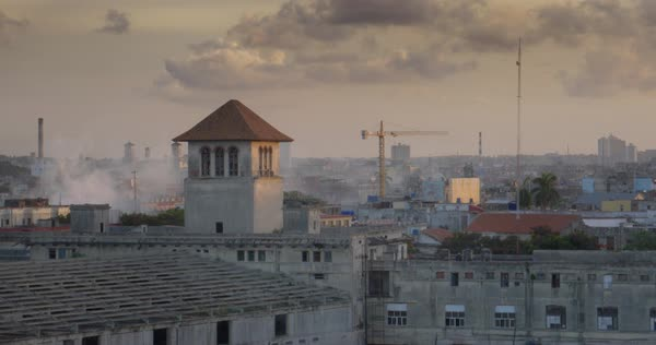 A high angle evening establishing shot of the Havana, Cuba skyline. Royalty-free stock video