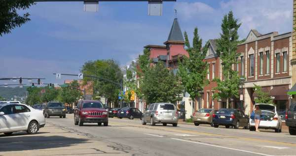 An establishing shot of a typical small town in Western Pennsylvania. Royalty-free stock video