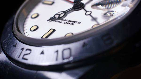 An extreme close-up of a luxury watch as the second hand passes by. Royalty-free stock video