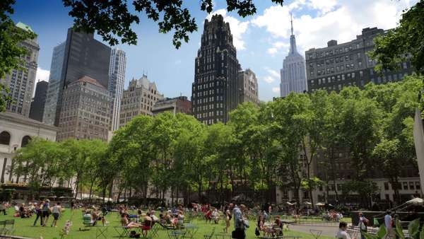 NEW YORK CITY, Circa June, 2013 - People enjoy recreational activities at Bryant Park in New York City. Royalty-free stock video