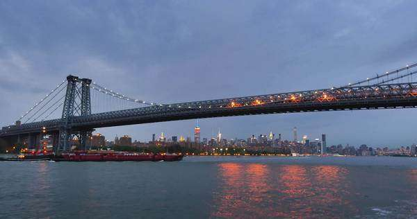 NEW YORK CITY - June, 2015 - An evening establishing shot of the Williamsburg Bridge over the East River. Royalty-free stock video