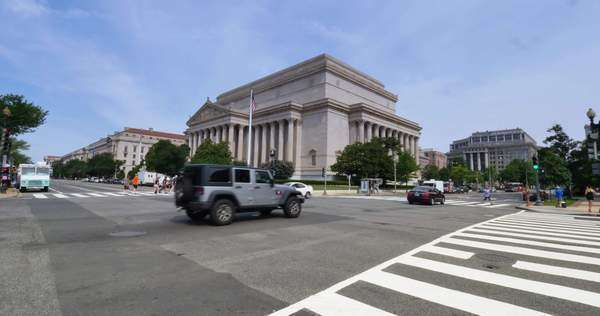 WASHINGTON, D.C. - Circa July, 2015 - A daytime establishing shot of the Archives of the United States of America building in Washington, D.C. Royalty-free stock video