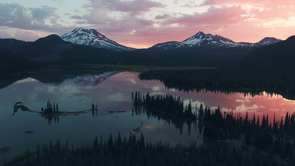 Oregon Mountains Lake sunrise aerial Rights-managed stock video