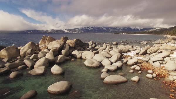 Bonsai Rock, Lake Tahoe Aerial flyby Rights-managed stock video