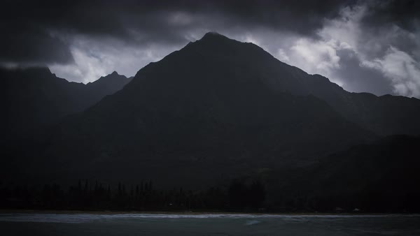 Stormy island mountains, light rays, hawaii timelapse.  Rights-managed stock video