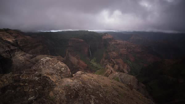 Wailea Canyon, Kauai. Moody dramatic motion timelapse. Rights-managed stock video