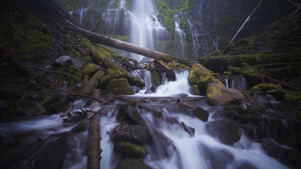 Proxy Falls, motion controlled waterfall timelapse taken in Oregon. Rights-managed stock video