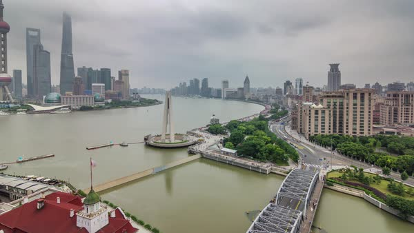 Shanghai roof top aerial river traffic river bridge panorama 4k time lapse china Royalty-free stock video