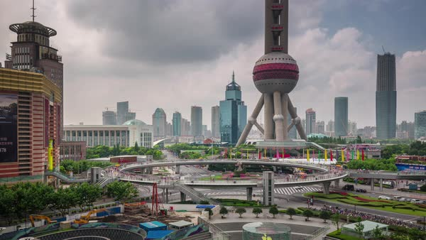 Shanghai city oriental pearl tower square panorama 4k time lapse china Royalty-free stock video