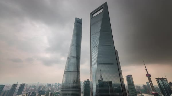 Storm sky shanghai downtown skyscrapers panorama 4k time lapse china Royalty-free stock video