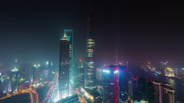 Night shanghai cityscape roof top aerial panorama 4k time lapse china Royalty-free stock video