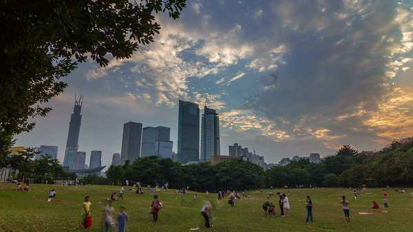 Shenzhen sunset sky crowded park panorama, timelapse Royalty-free stock video