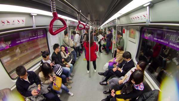 Guangzhou metro crowded train; timelapse in China Royalty-free stock video