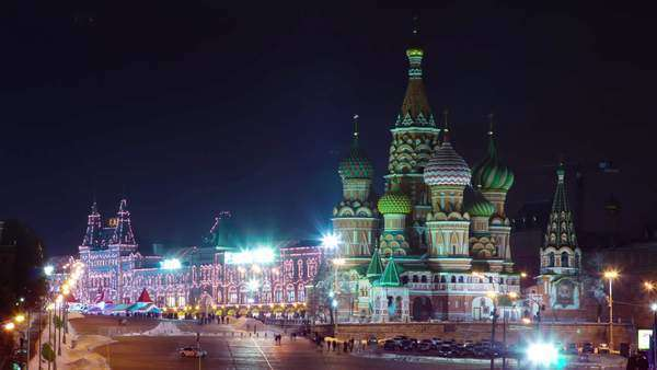 Moscow night Red Square church of Saint vasily the blessed timelapse, Russia Royalty-free stock video