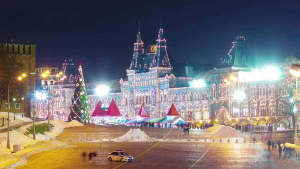 Moscow winter night illumination Red Square ice rink timelapse, Russia Royalty-free stock video