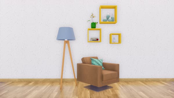 Bright modern living room interior in minimalistic design style with  armchair, floor lamp and simple shelves on empty white wall background with  copy ...