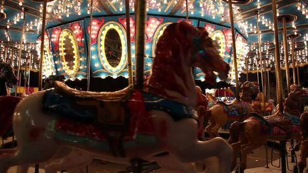 Empty merry go round at night Royalty-free stock video