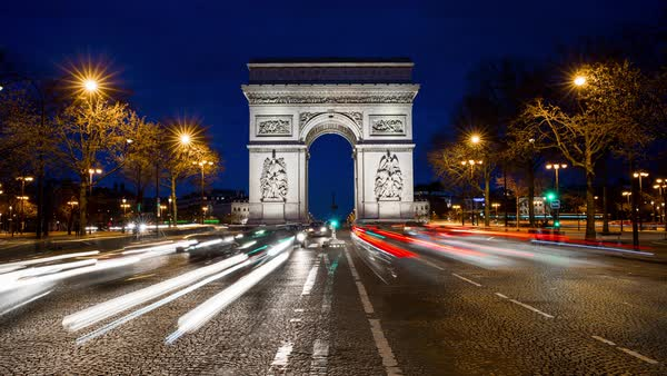 Arc de triomphe night timelapse Royalty-free stock video