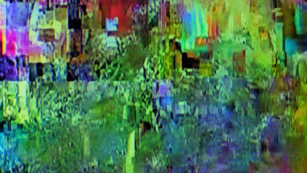 Cable TV broadcast signal glitch, television screen display error, tv  failure, digital artifacts on high definition screen  stock footage
