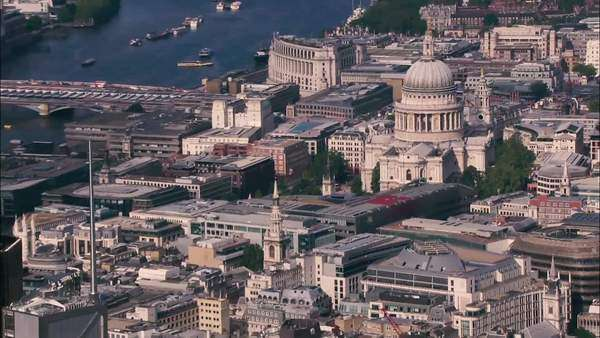 Aerial revealing the city of London and the river Thames in the afternoon Royalty-free stock video