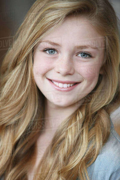 Cute Teen Girl Over White: Teenage Girl With Long Blond Hair And Blue Eyes; Troutdale
