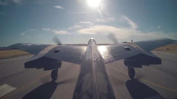 Medium shot of a Grumman Tigercat plane taking off in California Royalty-free stock video