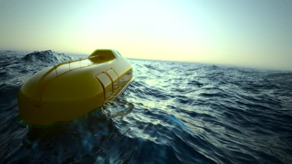 Lifeboat Floating In Rough Sea Royalty-free stock video