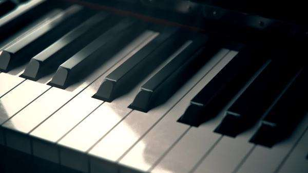 Piano keyboard with black and white piano keys Royalty-free stock video