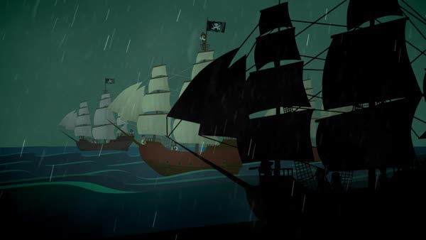 Pirate Ships Rowing In Sea At Rainy Night Royalty-free stock video