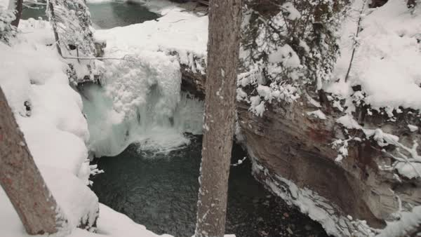 Medium shot of a waterfall in Johnston Canyon Royalty-free stock video