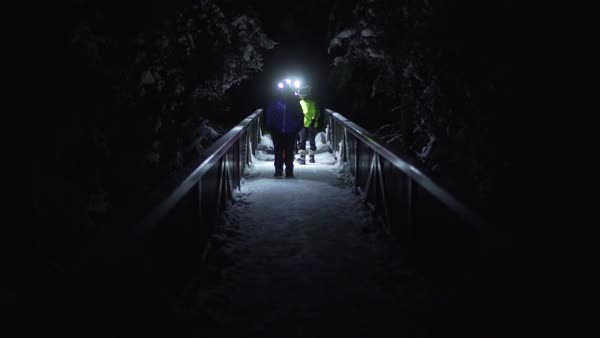 Wide-angle shot of people walking on a bridge at night in Johnston Canyon Royalty-free stock video