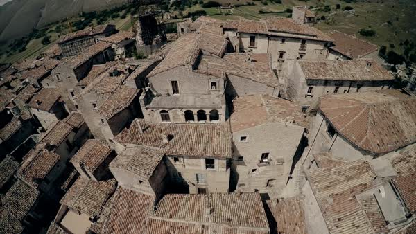 Aerial shot of a small town in Abruzzo Royalty-free stock video