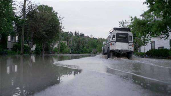 Truck driving through flooded street Royalty-free stock video