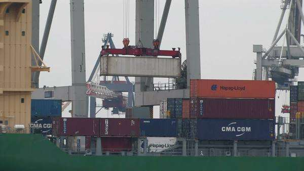 Cargo containers, Hamburg harbour Royalty-free stock video