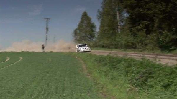 Rally racing car in rural scene Royalty-free stock video