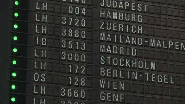 Frankfurt Airport, arrival departure board Royalty-free stock video