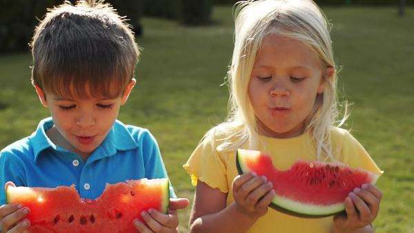 Two children eating water melon in park. Royalty-free stock video