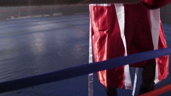 Portrait of boxer standing in ring Royalty-free stock video