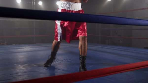 Boxer in ring ready to fight Royalty-free stock video