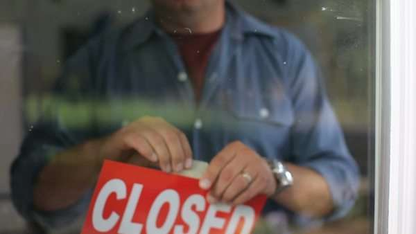 Going out of business, closed sign on window Royalty-free stock video