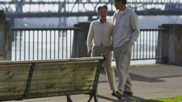 Senior couple sit together on bench at waterfront park Royalty-free stock video
