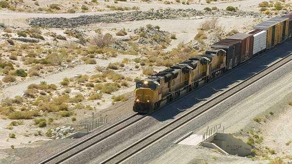 Aerial view of train in Southern California Royalty-free stock video