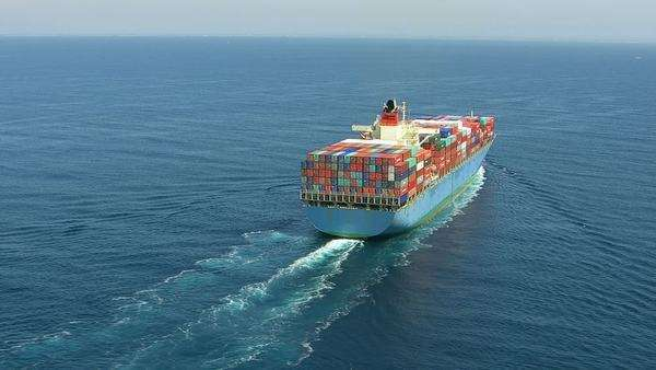 Aerial shot of container ship in ocean Royalty-free stock video