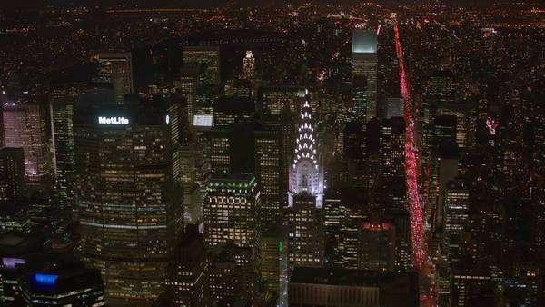 Aerial shot of New York and Chrysler Building at night Royalty-free stock video