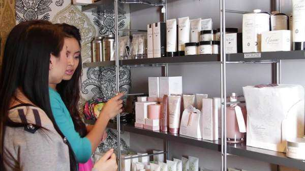 MS, Females looking in shop at beauty products Royalty-free stock video